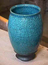 Tall Pot  in Blue Raku Glaze.